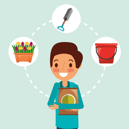 Illustration for gardener man cartoon fertilizer bucket potted flowers and shovel vector illustration - Royalty Free Image