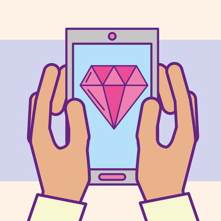 Ilustración de hand holding smartphone diamond app casino vector illustration cartoon - Imagen libre de derechos