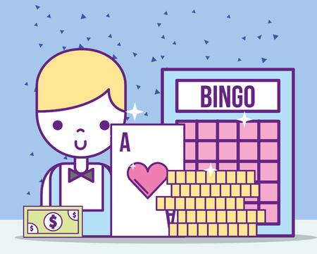 Ilustración de casino croupier male ace card bill bingo coins vector illustration - Imagen libre de derechos