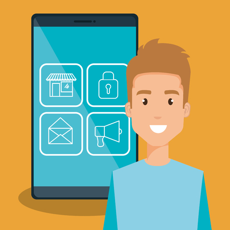 Illustration pour man with smartphone character vector illustration design - image libre de droit