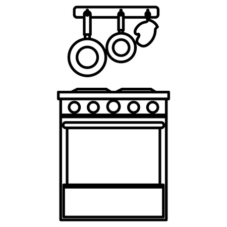 Illustration pour kitchen oven with cutleries hanging vector illustration design - image libre de droit