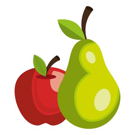 Ilustración de apple and pear fresh fruits vector illustration design - Imagen libre de derechos