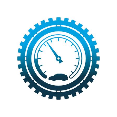 Illustration pour speedometer car gear mechanical industry automotive vector illustration neon design - image libre de droit