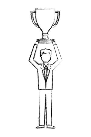 Illustration for businessman holding trophy award winner vector illustration hand drawing - Royalty Free Image