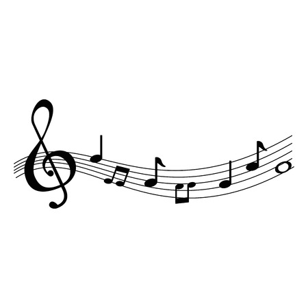 Illustration for musical partiture notes icons vector illustration design - Royalty Free Image