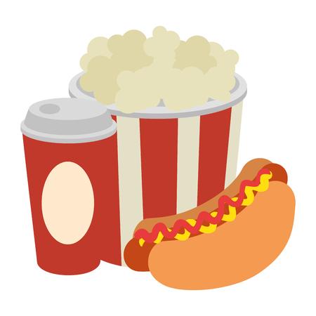 Ilustración de delicious hot dog with soda and pop corn vector illustration design - Imagen libre de derechos