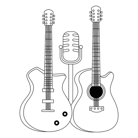 Illustration pour electric guitars and microphone musical instruments vector illustration - image libre de droit