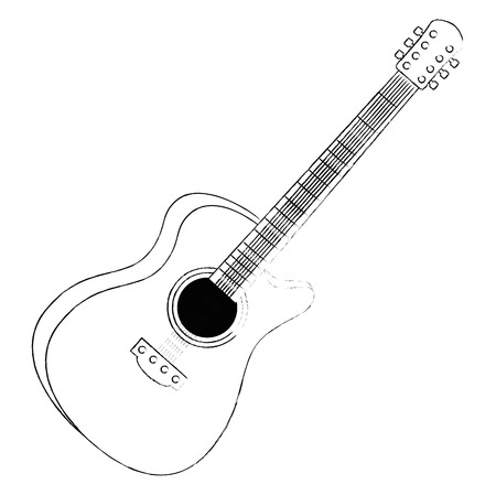 Illustration pour acoustic guitar musical instrument vector illustration design - image libre de droit