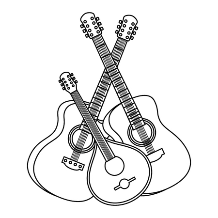 Illustration pour acoustic guitars with ukelele instruments vector illustration design - image libre de droit