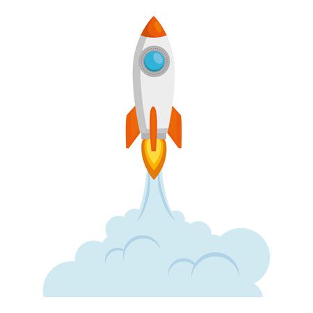 Ilustración de rocket start up with smoke vector illustration design - Imagen libre de derechos