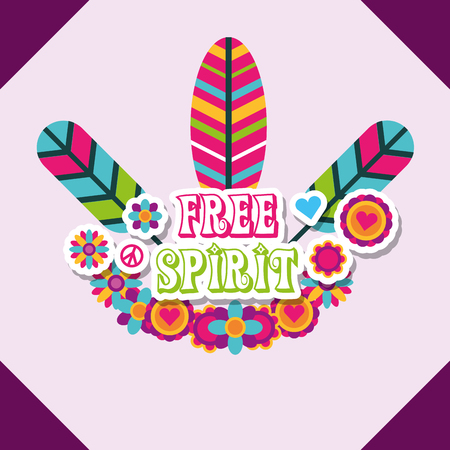 Illustration for multicolored feathers flowers retro hippie free spirit vector illustration - Royalty Free Image