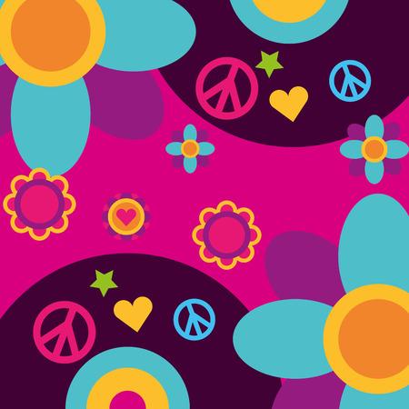 Illustration pour free spirit music vinyl disc flowers heart peace and love vector illustration - image libre de droit