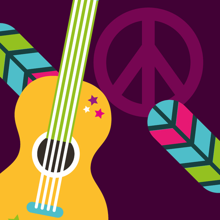 Illustration pour musical guitar feathers peace and love sign hippie free spirit vector illustration - image libre de droit