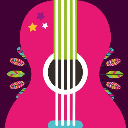 Ilustración de pink guitar instrument retro feathers decoration vector illustration - Imagen libre de derechos