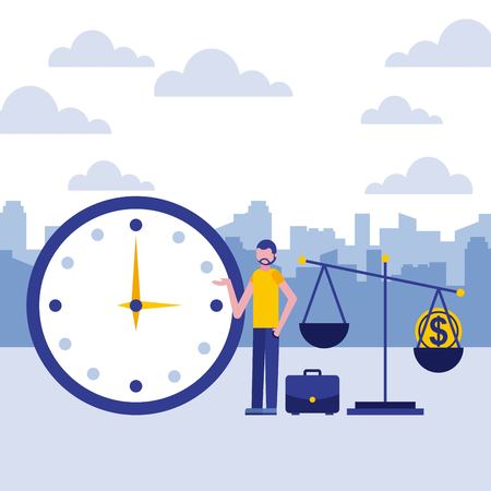 Illustration for businessman clock scale coin business vector illustration - Royalty Free Image