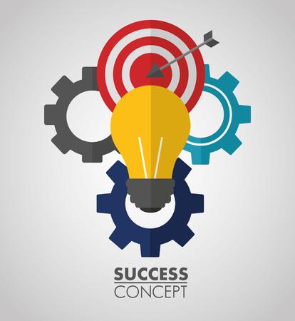 Ilustración de success concept wheels pointer sign light bulb vector illustration - Imagen libre de derechos
