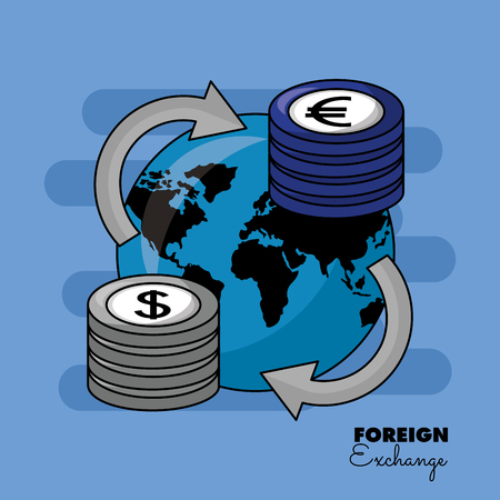 Ilustración de foreign exchange global around currency stacks vector illustration - Imagen libre de derechos