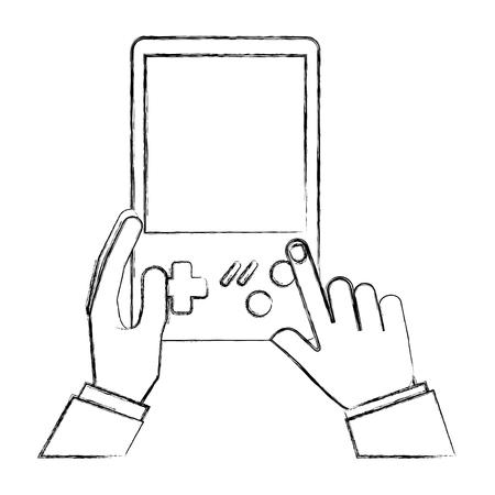 Ilustración de hands with console video game retro portable vector illustration hand drawing - Imagen libre de derechos