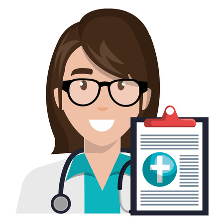 Illustration for doctor woman with clipboard character vector illustration design - Royalty Free Image