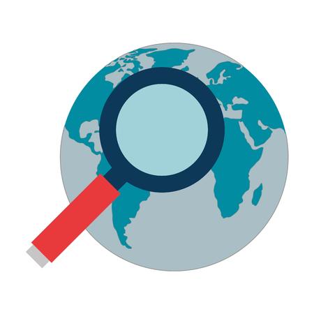 Illustration pour search magnifying glass with world planet vector illustration design - image libre de droit