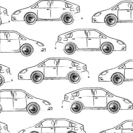 Ilustración de vehicle car motor transport pattern design vector illustration hand drawing - Imagen libre de derechos