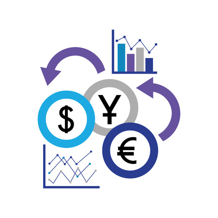 Ilustración de business statistics report coins foreign exchange vector illustration - Imagen libre de derechos