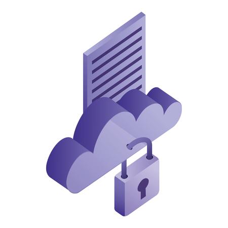 Illustration pour cloud computing storage data network security vector illustration - image libre de droit