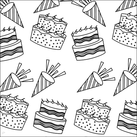 Illustration pour birthday cakes with candles and sprinkles decoration pattern vector illustration monochrome - image libre de droit