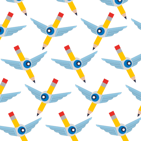 Illustration pour pencil write with wings and eye pattern vector illustration design - image libre de droit