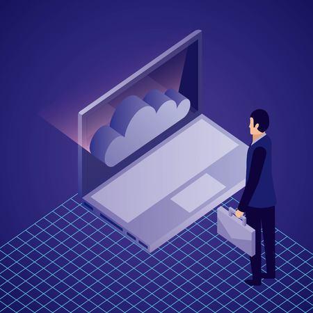 Illustration pour data network businessman computer cloud safety male holding portfolio vector illustration - image libre de droit