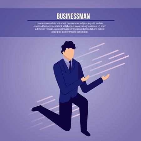 Illustration pour data network businessman male on knees sign vector illustration - image libre de droit