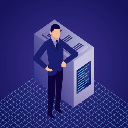 Illustration pour data network businessman datacenter male hands on the hip vector illustration - image libre de droit