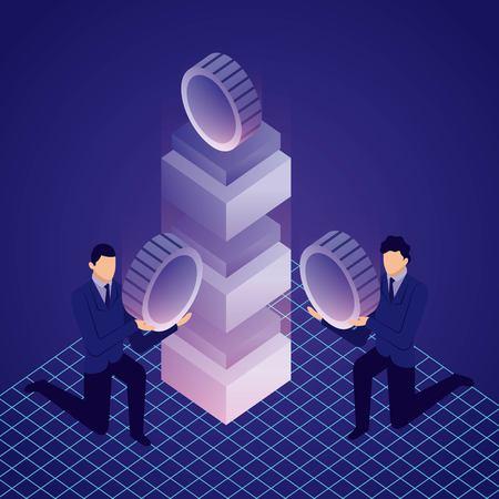 Illustration pour data network businessman holding bitcoins server computer vector illustration - image libre de droit