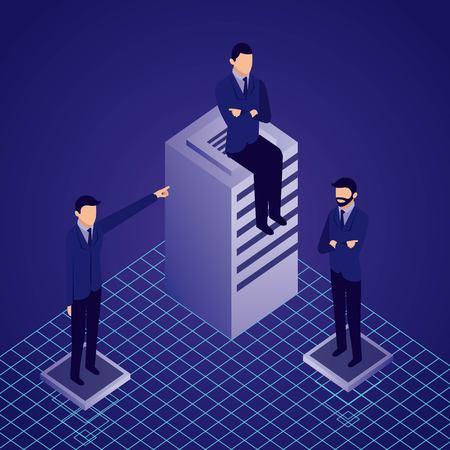 Illustration pour data network businessman dataserver males sitting pointed vector illustration - image libre de droit