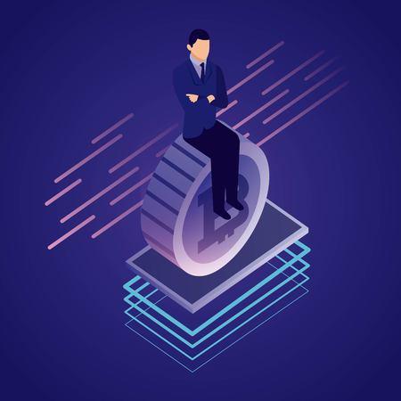 Illustration pour data network businessman sitting bitcoin vector illustration - image libre de droit