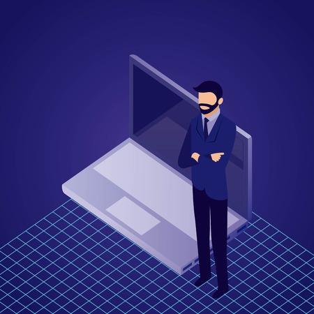 Illustration pour data network businessman male standing crossed arms computer vector illustration - image libre de droit