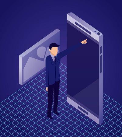 Illustration pour data network businessman pointed smartphone screen photo vector illustration - image libre de droit