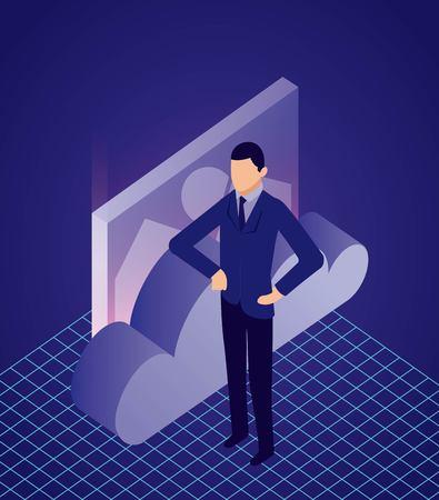 Illustration pour data network businessman cloud security photo vector illustration - image libre de droit