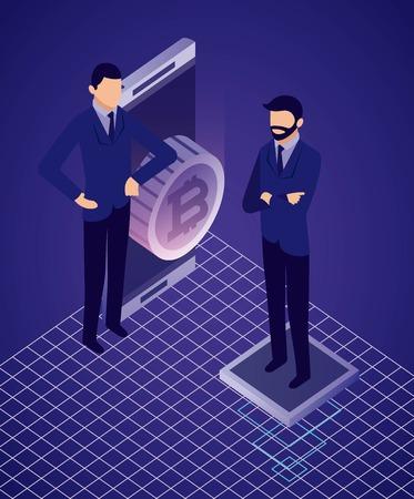 Illustration pour data network businessman smartphone bitcoin vector illustration - image libre de droit