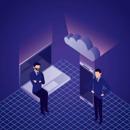 Illustration pour data network businessman computer base cloud smartphone vector illustration - image libre de droit