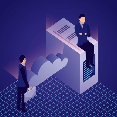 Illustration pour data network businessman cloud male sitting datacenter vector illustration - image libre de droit