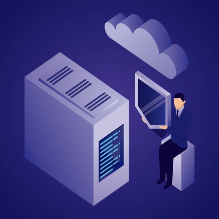 Illustration pour data network dataserver businessman holding shield cloud safety vector illustration - image libre de droit
