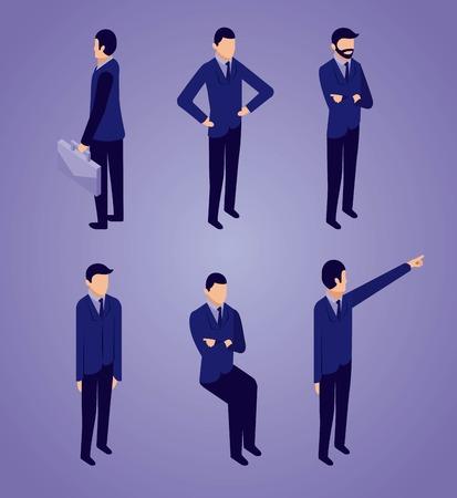 Illustration pour data network businessman sitting standing pointed and holding portfolio vector illustration - image libre de droit