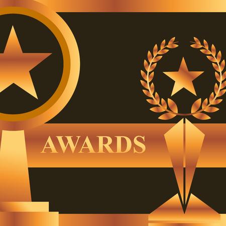 Illustration for movie awards prizes stars winner vector illustration - Royalty Free Image