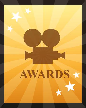 Illustration for movie awards camera film stars degrade background vector illustration - Royalty Free Image