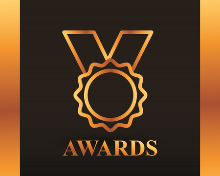 Illustration for movie awards recognition badge necklace vector illustration - Royalty Free Image