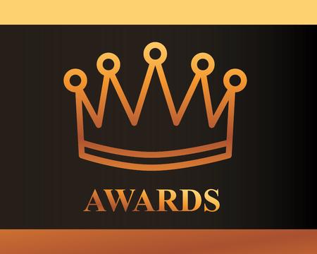 Illustration for movie awards sign crown winner vector illustration - Royalty Free Image
