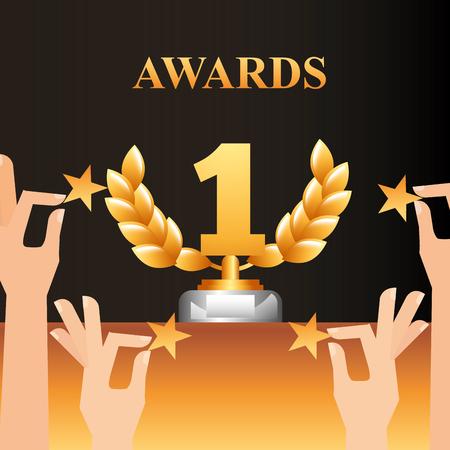 Illustration for movie awards hands holding stars number one prize winner vector illustration - Royalty Free Image