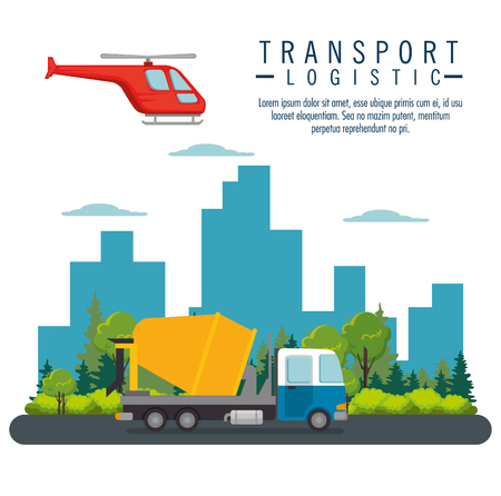 Illustration pour helicopter flying and truck transport icon vector illustration design - image libre de droit