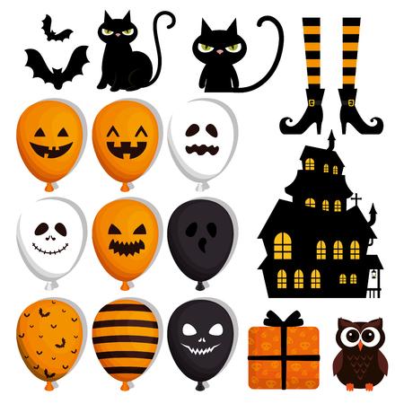 Ilustración de happy halloween set icons vector illustration design - Imagen libre de derechos